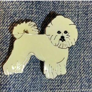 Unisex Cute White Bichon  Dog   Badge